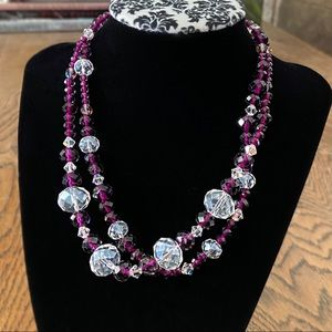 """Purple Double Strand SPARKLY Beaded Necklace 16"""""""